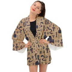 Vintage Tribal Seamless Pattern With Ethnic Motifs Long Sleeve Kimono