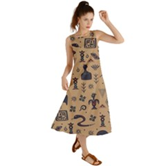 Vintage Tribal Seamless Pattern With Ethnic Motifs Summer Maxi Dress