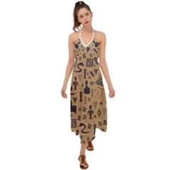Vintage Tribal Seamless Pattern With Ethnic Motifs Halter Tie Back Dress