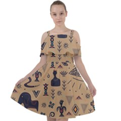 Vintage Tribal Seamless Pattern With Ethnic Motifs Cut Out Shoulders Chiffon Dress