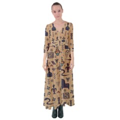 Vintage Tribal Seamless Pattern With Ethnic Motifs Button Up Maxi Dress