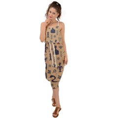 Vintage Tribal Seamless Pattern With Ethnic Motifs Waist Tie Cover Up Chiffon Dress