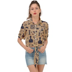 Vintage Tribal Seamless Pattern With Ethnic Motifs Tie Front Shirt