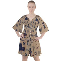 Vintage Tribal Seamless Pattern With Ethnic Motifs Boho Button Up Dress