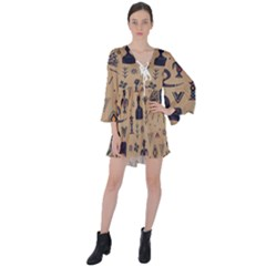 Vintage Tribal Seamless Pattern With Ethnic Motifs V-Neck Flare Sleeve Mini Dress