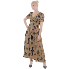 Vintage Tribal Seamless Pattern With Ethnic Motifs Button Up Short Sleeve Maxi Dress