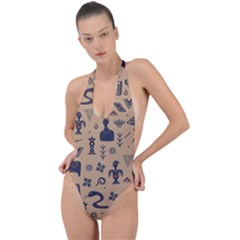 Vintage Tribal Seamless Pattern With Ethnic Motifs Backless Halter One Piece Swimsuit