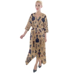 Vintage Tribal Seamless Pattern With Ethnic Motifs Quarter Sleeve Wrap Front Maxi Dress