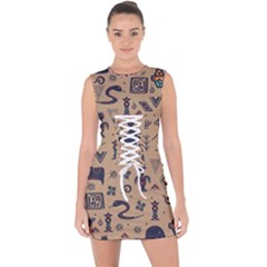 Vintage Tribal Seamless Pattern With Ethnic Motifs Lace Up Front Bodycon Dress