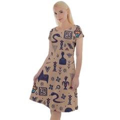 Vintage Tribal Seamless Pattern With Ethnic Motifs Classic Short Sleeve Dress