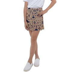 Vintage Tribal Seamless Pattern With Ethnic Motifs Kids  Tennis Skirt