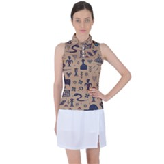 Vintage Tribal Seamless Pattern With Ethnic Motifs Women s Sleeveless Polo Tee