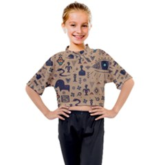 Vintage Tribal Seamless Pattern With Ethnic Motifs Kids Mock Neck Tee