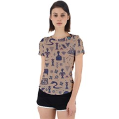 Vintage Tribal Seamless Pattern With Ethnic Motifs Back Cut Out Sport Tee