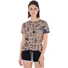 Vintage Tribal Seamless Pattern With Ethnic Motifs Open Back Sport Tee