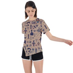 Vintage Tribal Seamless Pattern With Ethnic Motifs Asymmetrical Short Sleeve Sports Tee