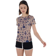 Vintage Tribal Seamless Pattern With Ethnic Motifs Back Circle Cutout Sports Tee