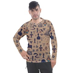 Vintage Tribal Seamless Pattern With Ethnic Motifs Men s Pique Long Sleeve Tee