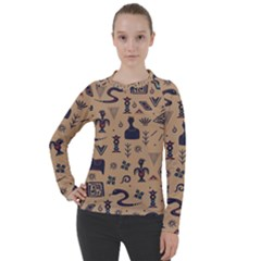 Vintage Tribal Seamless Pattern With Ethnic Motifs Women s Pique Long Sleeve Tee