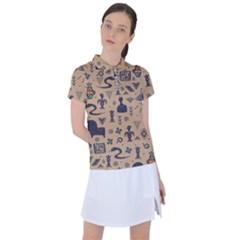 Vintage Tribal Seamless Pattern With Ethnic Motifs Women s Polo Tee