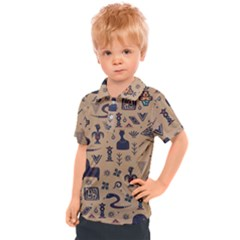 Vintage Tribal Seamless Pattern With Ethnic Motifs Kids  Polo Tee
