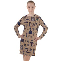 Vintage Tribal Seamless Pattern With Ethnic Motifs Long Sleeve Hoodie Dress