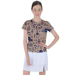 Vintage Tribal Seamless Pattern With Ethnic Motifs Women s Sports Top