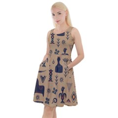 Vintage Tribal Seamless Pattern With Ethnic Motifs Knee Length Skater Dress With Pockets