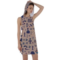 Vintage Tribal Seamless Pattern With Ethnic Motifs Racer Back Hoodie Dress