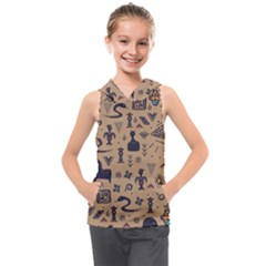 Vintage Tribal Seamless Pattern With Ethnic Motifs Kids  Sleeveless Hoodie