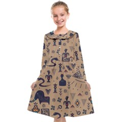 Vintage Tribal Seamless Pattern With Ethnic Motifs Kids  Midi Sailor Dress