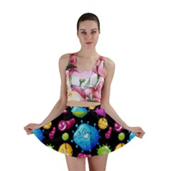 Seamless Background With Colorful Virus Mini Skirt by Vaneshart