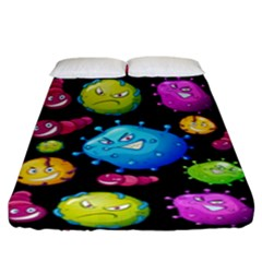 Seamless Background With Colorful Virus Fitted Sheet (king Size) by Vaneshart