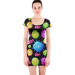 Seamless Background With Colorful Virus Short Sleeve Bodycon Dress by Vaneshart