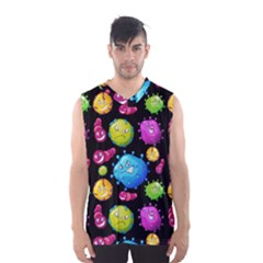 Seamless Background With Colorful Virus Men s Basketball Tank Top by Vaneshart