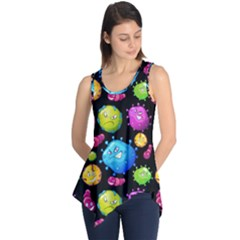 Seamless Background With Colorful Virus Sleeveless Tunic by Vaneshart