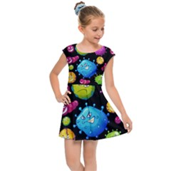 Seamless Background With Colorful Virus Kids  Cap Sleeve Dress by Vaneshart
