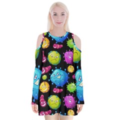 Seamless Background With Colorful Virus Velvet Long Sleeve Shoulder Cutout Dress by Vaneshart