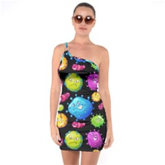 Seamless Background With Colorful Virus One Soulder Bodycon Dress by Vaneshart