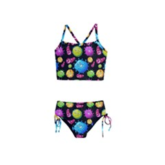 Seamless Background With Colorful Virus Girls  Tankini Swimsuit