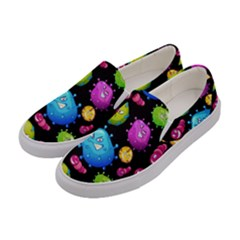Seamless Background With Colorful Virus Women s Canvas Slip Ons by Vaneshart