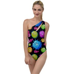 Seamless Background With Colorful Virus To One Side Swimsuit