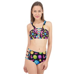 Seamless Background With Colorful Virus Cage Up Bikini Set by Vaneshart
