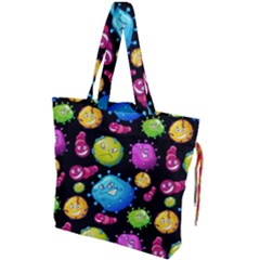 Seamless Background With Colorful Virus Drawstring Tote Bag by Vaneshart