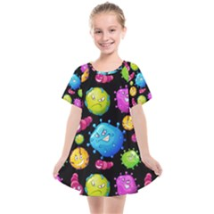 Seamless Background With Colorful Virus Kids  Smock Dress