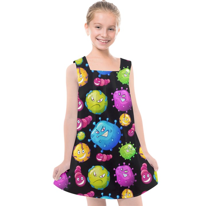Seamless Background With Colorful Virus Kids  Cross Back Dress