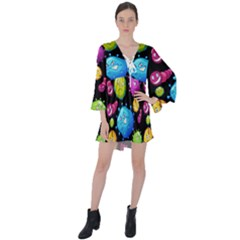 Seamless Background With Colorful Virus V-neck Flare Sleeve Mini Dress by Vaneshart