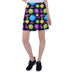 Seamless Background With Colorful Virus Tennis Skirt