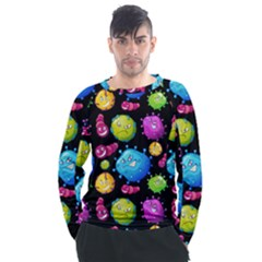 Seamless Background With Colorful Virus Men s Long Sleeve Raglan Tee