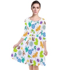Bacteria Virus Seamless Pattern Quarter Sleeve Waist Band Dress by Vaneshart
